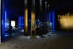 "The darkest of all the SIHH brand booths, Piaget regaled in its status as the ""Master of Ultra-Thin"" with a new vertically theme space uplit... Photo: Alain Morvan"