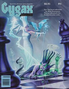 """""""Queen Takes Queen"""". Thirty years after his series of fantasy chess paintings forDragon magazine, Denis Beauvais revisited the theme for Gygax magazine No 4, summer 2014."""