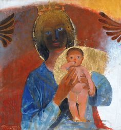 """by Arcabas =_Jean-Marie Pirot (French """"Adoremus Te"""" Christian Symbols, Christian Art, Religious Icons, Religious Art, Modern Art, Contemporary Art, Images Of Mary, Mary And Jesus, Christ"""