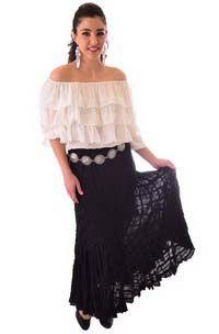 Boho Chic White ruffled Top and Black Skirt Set