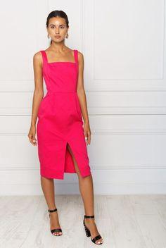 2kstyle.com    #fuschia #dress #mididress #pinaforedress #fuschiadress #party #partydress #eveningdress #summer #dress #summer #outfit #trending