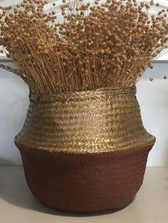 Straw Belly Basket, Handpainted Sea Grass Basket, Storage Basket, Home decor