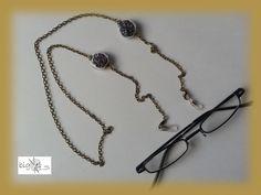 #Brillenkette echte #Lavendelblüten bronze von bigXel-Naturschmuck und Wollkunst auf DaWanda.com