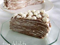 Habos-csokis rakott palacsinta recept - Okoskonyha.hu Hungarian Recipes, Hungarian Food, Romanian Recipes, Crepe Cake, Romanian Food, Mille Crepe, Sweets Cake, Crepes, Tiramisu