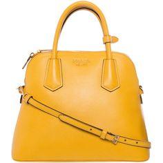 Prada Small Yellow Saffiano Leather Dome Satchel ($1,700) ❤ liked on Polyvore featuring bags, handbags, yellow, yellow handbag, prada, prada purses, dome purse and dome handbag