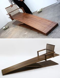 long wooden lounge chair