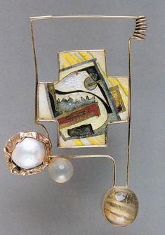 William Harper    ALBINO III    1979 Gold cloisonne' enamel on copper; 14 kt gold; sterling silver; pearl; moonstone; rutilated quartz