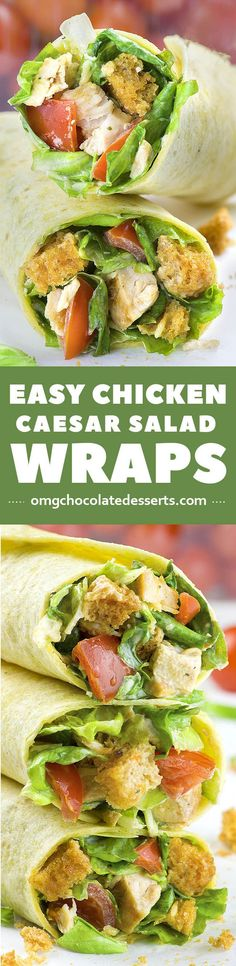 Chicken Caesar Salad Wraps are quick and easy chicken recipe that will show you how to turn healthy chicken salad into the best homemade weeknight dinner.