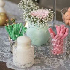 Candy bar en tonos rosa,melocoton y verde agua