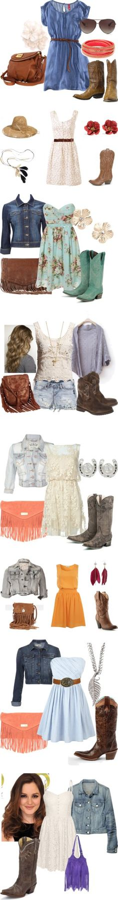 southern outfits- they are all belted and fitted that's key to making these looks work without looking pregnant. Country Style Outfits, Country Dresses, Country Girl Style, Southern Outfits, Country Fashion, Country Western Outfits, Country Wear, Rock Chic, Style Rock