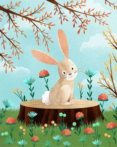 Una copia de mi ilustración original de conejito de mi serie Woodland amigos. * Disponible en varios tamaños diferentes, por favor seleccione
