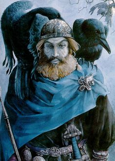 odin, norse pagan god with ravens by tudor humphries