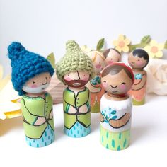 Hand Painted Garden Gnomes from Tiny Kind Toys Modern Kids Decor, Small World Play, Gnome Garden, Easter Baskets, Handmade Toys, Etsy Seller, Hand Painted, Dolls, Christmas Ornaments