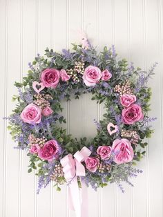 Wedding Decorations Etsy Outdoor - roses and lavender wreath - floral bridal shower decorations - romantic wedding decor - eucalyptus door hanger Lavender Wreath, Pink Wreath, Deco Floral, Floral Wall, Bridal Shower Decorations, Wedding Decorations, Apothecary Jars Decor, Romantic Wedding Decor, Romantic Roses