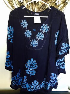 Women Kaftan Kurti Tunic Top Rayon Free Size Blue Embroidered Short Sleeve | eBay