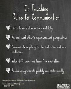 Co-teaching Rules for Communication. Helpful advice! #teaching