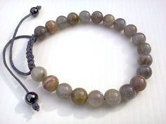 Men Labradorite bracelet, Waxed cotton cord bracelet, Labradorite bra…