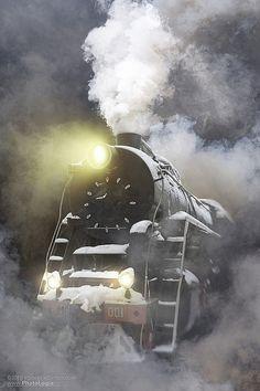 Night steam train Locomotive
