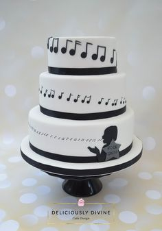 A music / choir themed birthday cake for a 60th birthday. A tiered cake, all of which is rich fruit cake. Made by deliciously.divine.co.uk
