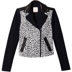 Rebecca Taylor Leo Jacquard Moto Jacket (225 AUD) ❤ liked on Polyvore featuring outerwear, jackets, coats, coats & jackets, black white, colorblock moto jacket, rider jacket, color block jacket, black and white biker jacket and print jacket