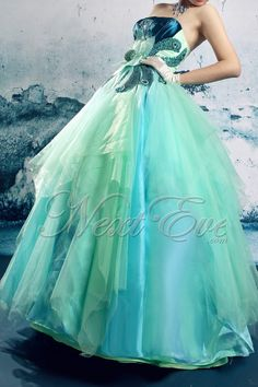 Strapless MultiColored Organza Ball Gown Prom Dress   by livapo