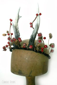 Winter Antler and Berry Crown, Vegan Friendly Non-taxidermy - pan, fantasy, winter, christmas, god, goddess