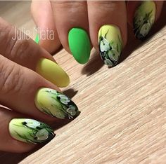 45 Yellow Nail Art Designs Beautiful Floral Inspired Green and Yellow Nail Design. You can go with this amazingly done floral inspired green and yellow nail art design, if you want to enhance the look of your nails. Yellow Nails Design, Orange Nail Designs, Yellow Nail Art, Heart Nail Designs, Nail Designs Spring, Nail Art Designs, White Nail, Sunflower Nails, Art Simple