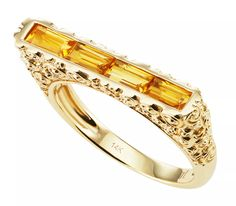 Rosebud skinny bar ring in 14k yellow gold with citrine baguettes, $915; Jane Taylor Jewelry