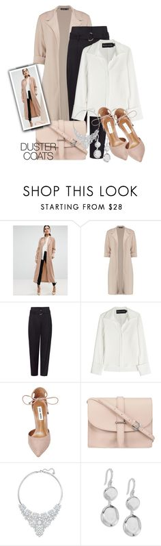 """""""Classic Dressing - Duster Coats"""" by sonyastyle ❤ liked on Polyvore featuring ASOS, Boohoo, Brandon Maxwell, Steve Madden, M.N.G, Swarovski, Ippolita, polyvoreeditorial, polyvorecontest and DusterCoats"""