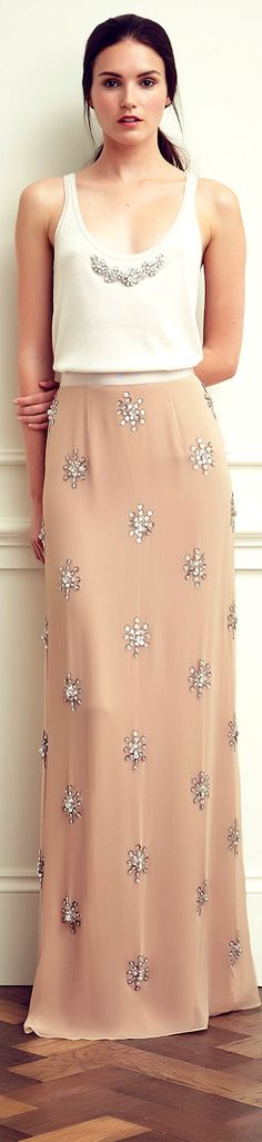 Jenny Packham | white and salmon | stone beading