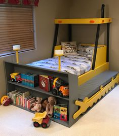 Twin Size Bulldozer Bed PLANS (pdf format), Create a Construction Themed Bedroom for your Child, Perfect for the DIY Woodworking Enthusiast - Zimmereinrichtung Boy Toddler Bedroom, Baby Boy Rooms, Kids Bedroom, Toddler Beds For Boys, 3 Year Old Bedroom Boy, Attic Bedrooms, Kids Rooms, Boys Construction Room, Construction Theme Bedroom