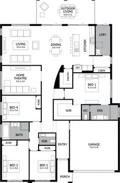 Atrium Single Storey House Design with 4 Bedrooms Love that the master is separate but still quite close to the other bedrooms New House Plans, Dream House Plans, House Floor Plans, Kitchen Floor Plans, House Blueprints, Bedroom House Plans, Sims House, Suites, House Layouts