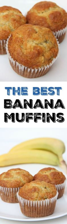 The best banana muffin recipe. The perfect breakfast recipe idea to use overripe. The best banana muffin recipe. The perfect breakfast recipe idea to use overripe bananas. This muffin recipe is so easy and the best muffins weve ever. Delicious Desserts, Dessert Recipes, Yummy Food, Best Banana Muffin Recipe, Easy Muffin Recipe, Moist Banana Muffins, Banana Muffins Applesauce, Banaba Muffins, Easy Banana Cake Recipe