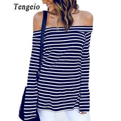 Tengeio Autumn Striped Off The Shoulder Tops For Women Shirt Casual Long Sleeve Tee Shirt Femme Tshirt Feminina Polera Mujer 820 #Affiliate