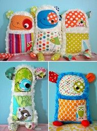"so cute! scrap monsters! There's ""sew"" easy to make!"
