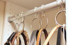 organization: shower hooks  for belts necklaces