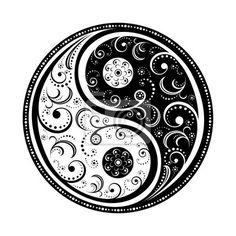 Sticker yin & yang symbole - feuillet • Sticker mural • PIXERS.fr