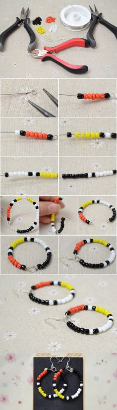 How to Make Native American Beaded Hoop Earrings with Four-Colored Seed Beads from LC.Pandahall.com