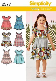 Little Girls' Easy Dress Pattern, Girl's Peasant Dress Pattern, Girls' Pullover Dress Pattern, Sz 3 to Simplicity Sewing Pattern 2377 Sewing Patterns For Kids, Simplicity Sewing Patterns, Sewing For Kids, Clothing Patterns, Peasant Dress Patterns, Girl Dress Patterns, Sundress Pattern, Simple Dress Pattern, Little Girl Dresses