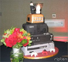The Definitive Collection Of Video Game Cakes Gamer Wedding Cake, Wedding Cakes, Crazy Cakes, Fancy Cakes, Video Game Cakes, Video Games, Video Game Wedding, Big Fish Games, Pastry Art