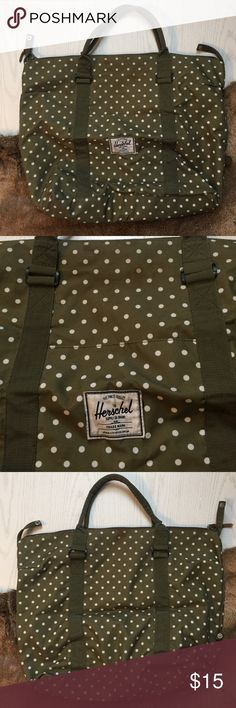 Herschel olive green with white polkadot day bag EUC with flaw see pics. Looks like brown staining near top zipper. Not sure what it was. I put it in the wash but it didn't come out. Not nearly talented with doing laundry so you might have a better chance at it if you're really good with taking stain off. Not sure if it's a makeup stain or food. Sorry. Priced to sell Herschel Supply Company Bags Travel Bags
