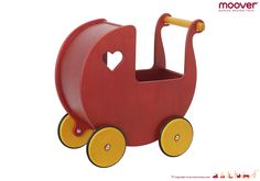 Moover Toys Dolls Pram is both classic whilst modern in its design. It is the flagship piece of the Moover range and loved by children all over the world. The dolls pram is suitable for both small and large dolls and is made from a high-quality birch ven Pram Toys, Dolls Prams, Baby Toys, Kids Toys, Toy Car Storage, Red Dolls, Wooden Wheel, Baby Carriage, Wooden Dolls