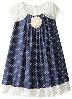 71a72d393b71 Bonnie Jean Little Girls' Pindot Chambray with Lace, Blue, Pin dot chambray  dress with pleated front