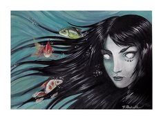 """Donna marina"" - Underwater Acrylic on paper cm - By Francesca Radicetta - Black-haired woman with fish underwater, ondine with black hair Ondine, My Works, My Drawings, Underwater, Black Hair, Disney Characters, Fictional Characters, Fish, Woman"