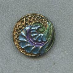 Antique Button Ornate Czech Black Glass w Hand Painted Accent
