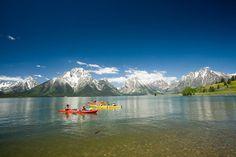 Sea kayaking on Jackson Lake, Grand Teton National Park Grand Teton National Park, National Parks, National Geographic Adventure, Ocean Kayak, Kayak Paddle, Kayak Tours, Whitewater Rafting, Kayaking, Canoeing