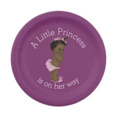 Ethnic Little Princess Baby Shower Purple 7 Inch Paper Plate
