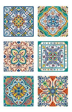 Tile Art, Mosaic Tiles, Tile Patterns, Pattern Art, Creperia Ideas, Folk Art Flowers, Decoupage Printables, Islamic Art Pattern, Turkish Art