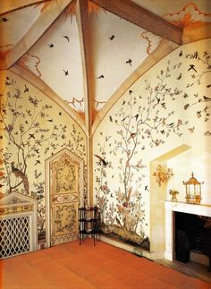 inspiration for a beautiful nursery room! Birdcage Room - Grimsthorpe Castle, Lincolnshire circa Book: Early Georgian Interiors by John Cornforth Interior Exterior, Exterior Design, Georgian Interiors, Georgian Homes, Decoration Design, Baby Room Decor, Of Wallpaper, Design Case, Free Design