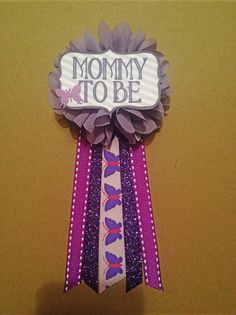 Pink purple butterfly Baby Shower Mommy-to-be Flower Ribbon Pin Corsage Glitter Rhinestone